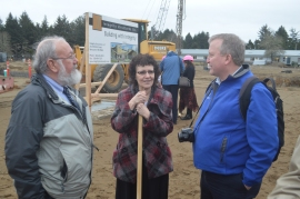 Chief Hazards Geologist Tim Walsh of DNR, left, talks tsunamis with Ocosta School Superintendent Paula Akerlund, center, Ted Buehner, warning coordinator meteorologist for the National Weather Service in Seattle.