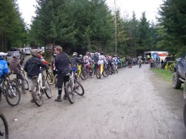 Riders gather at NW Cup, an annual downhill mountain biking race at DNR's Dry Hill.