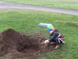 It takes all kinds of help to plant trees in celebration of Arbor Day. Photo: Linden Lampman/DNR
