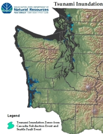 Tsunami inundation areas of Washington State. Source: DNR