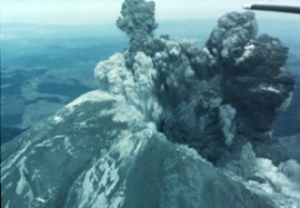 Mount St. Helens eruption viewed from an airplane.