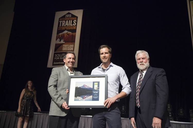 Sam Jarrett, who manages recreation in DNR's landscapes in the Snoqualmie Corridor, received a 2015 Trail Worker award from American Trails. Photo/ American Trails.