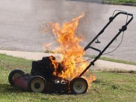 Keep a close eye on lawnmowers and yard tools after use. They stay hot for at least an hour. Photo Frank Boston/Flickr/CC/Cropped