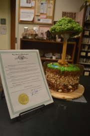 "An ""earth-cake"" made by DNR's Geology division shows the earth as our scientists see it to celebrate geologic map day and cap Earth Sciences Week. DNR Photo"