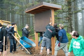 The Cold Creek Mountain Bikers work on a trail kiosk for the Thrillium Trail. Photo courtesy Cold Creek Mountain Bikers.