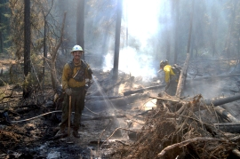 Fighting wildfires is extremely rewarding.  Photo/Joe Smillie, DNR
