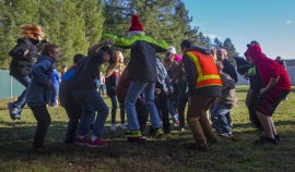 Sixth-grade students at Lackamas Elementary School in Yelm, Thurston County, recently helped researchers measure the way seismic waves move through soil by literally jumping into the work. (Ellen M. Banner/The Seattle Times)