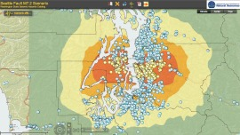 This scenario of a magnitude 7.2 quake on the Seattle Fault shows the schools that might suffer damage for use in community planning.