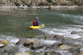 Kayaking near Mine Creek Picnic Area on the Middle Fork Snoqualmie River. Photo/ DNR.