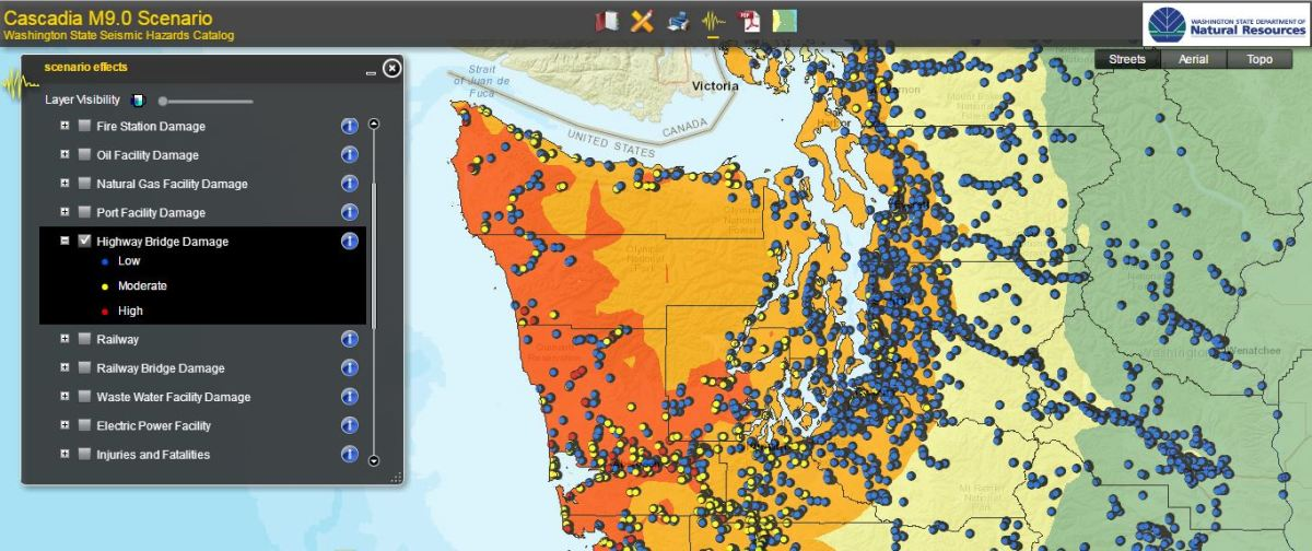 Cascadia Fault Map on