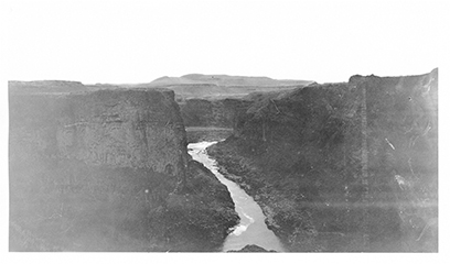 A view downstream from Palouse Falls, taken by O.P. Jenkins in 1923.