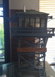 A miniature replica of the Pinnacle Peak Fire Lookout in DNR's Enumclaw Office. Photo: DNR