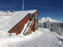 View of High Hut and Mount Rainier. DNR photo.