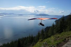 Launching from DNR's Samish Overlook. Photo courtesy North Cascades Soaring Club.