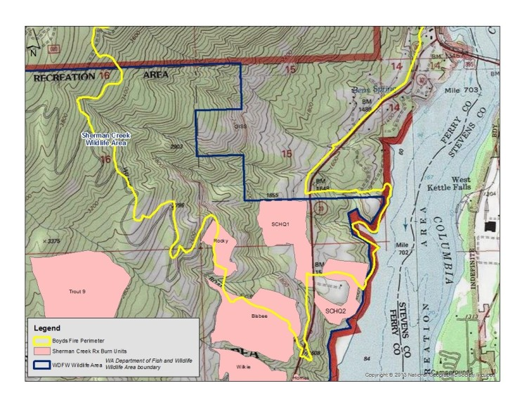 Map of where the Boyds Fire overlapped with prescribed burn areas
