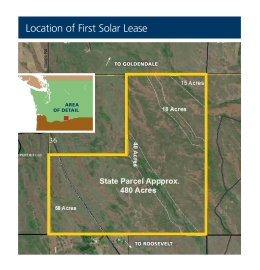 A map of the parcel in Klickitat County that DNR is leasing for the generation of solar power.